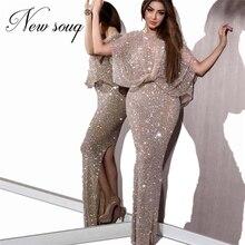 חם ירוק ואגלי סלבריטאים המפלגה שמלות 2020 Robe דה Soiree פיצול צד שמלת ערב המזרח התיכון ארוך לנשף שמלת דובאי קוטור