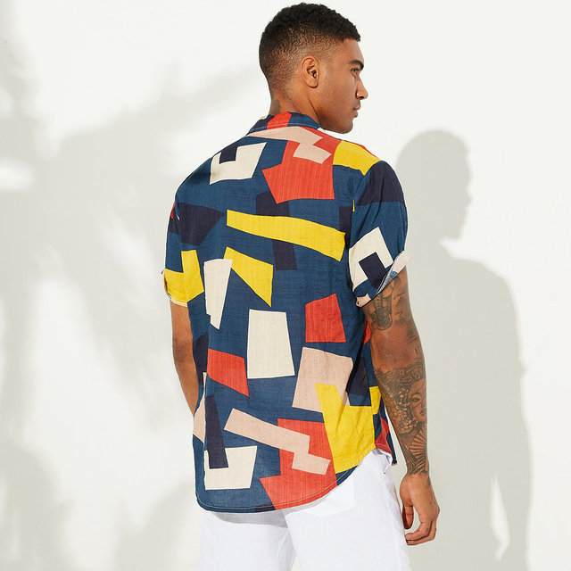 Summer Mens Shirts Cotton Linen Blouse Shirt Short-sleeve Button-down Print Loose Hawaiian Shirt Blouse Beach Undershirt Soft 5