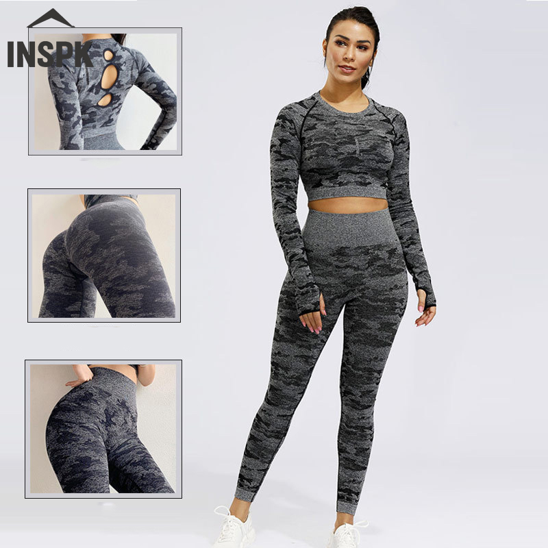 Women Fitness Wear,Camouflage Women's Tracksuits,Autumn Winter Yoga And Fitness Clothing Female,Top +High Waist Energy Seamless