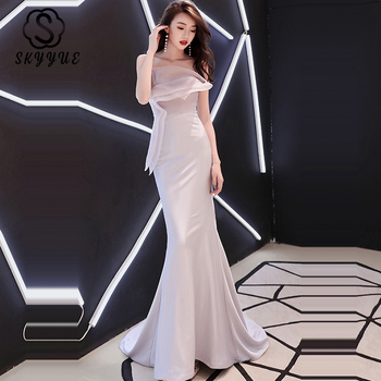 Skyyue Train Evening Dress K339 Silver Gray Long Lace Up Party Gown for Womwn Strapless Sleeveless Ruffles Mermaid Formal Dress