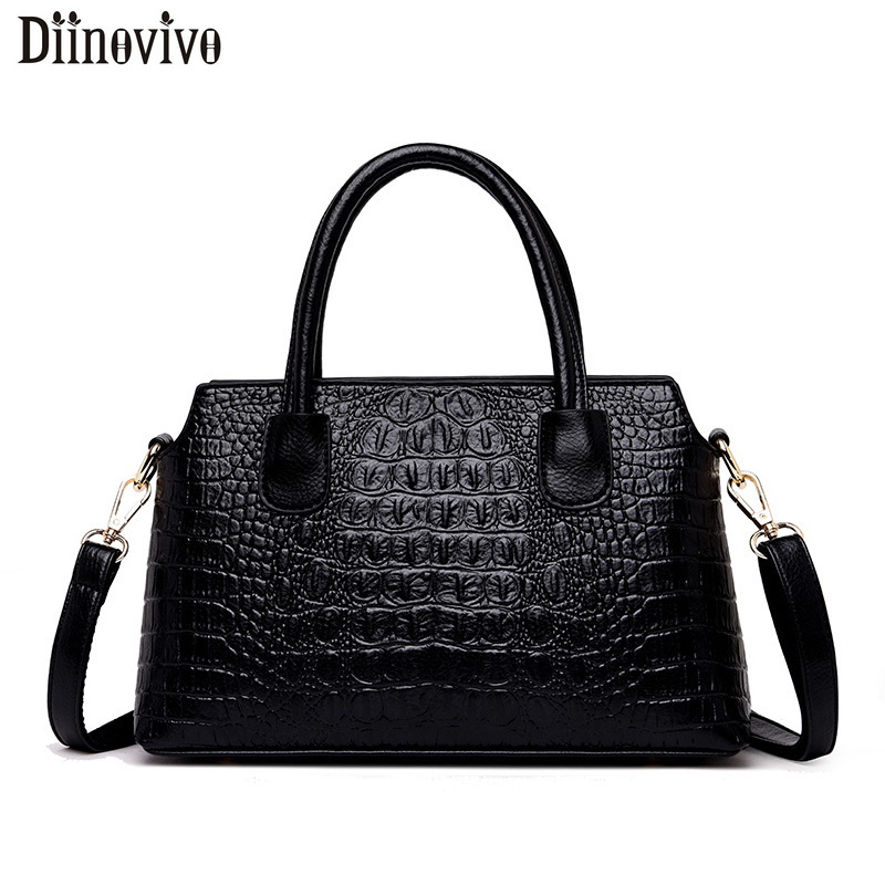 DIINOVIVO Crocodile Women Handbag PU Leather Over Shoulder Luxury Designer Female Crossbody Messenger Totes Bags WHDV1223