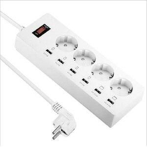 Image 1 - Power Streifen 2/3/4 EU Outlets Steckdose mit USB Quick Charge Port für Smartphones Verlängerung Kabel 1.5/1.8/ 3M Adapter Dock