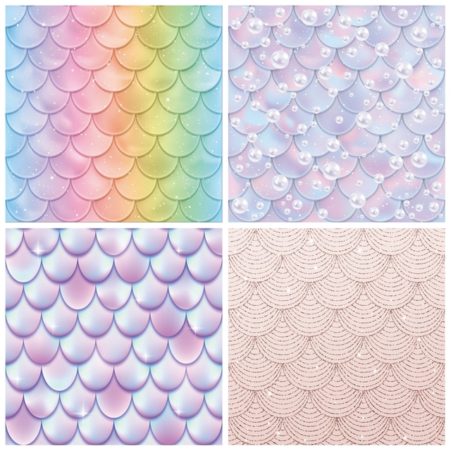 Laeacco fondos de fotografía de princesa sirenita, escamas de peces de arco iris, burbujas, Baby Shower, sesión fotográfica para recién nacido