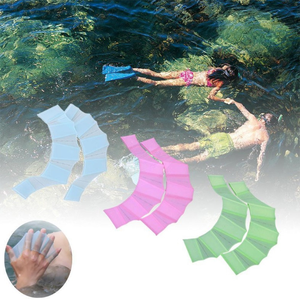 2 Pcs Silicone Swim Gear Fins Hand Web Flippers Training Diving Gloves Swimming Webbed Gloves For Men L Women M Kids S Size
