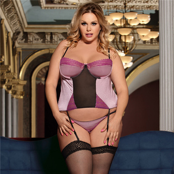 Sexy 2 Pieces Lace Bustier Underwired Push Up Lingerie Set Plus Size #F1627 1