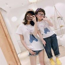 Футболки с принтом милого кролика летние футболки семейная одежда