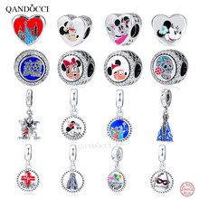 QANDOCCI 2019 100% 925 Sterling Silver Heart Mickey Dog Minnie Charm Pendant Bracelet DIY Accessories Pendant Free Shipping(China)