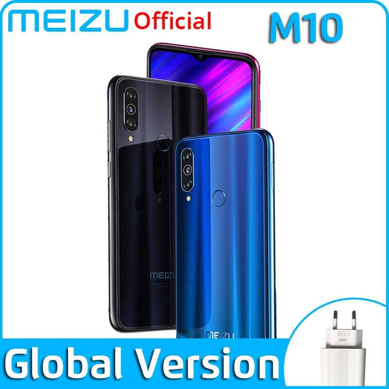 Новое поступление Meizu M10, глобальная версия, 3 ГБ, 32 ГБ, MTK P25, четыре ядра, тройная камера, Android телефон, 4000 мАч, большая батарея