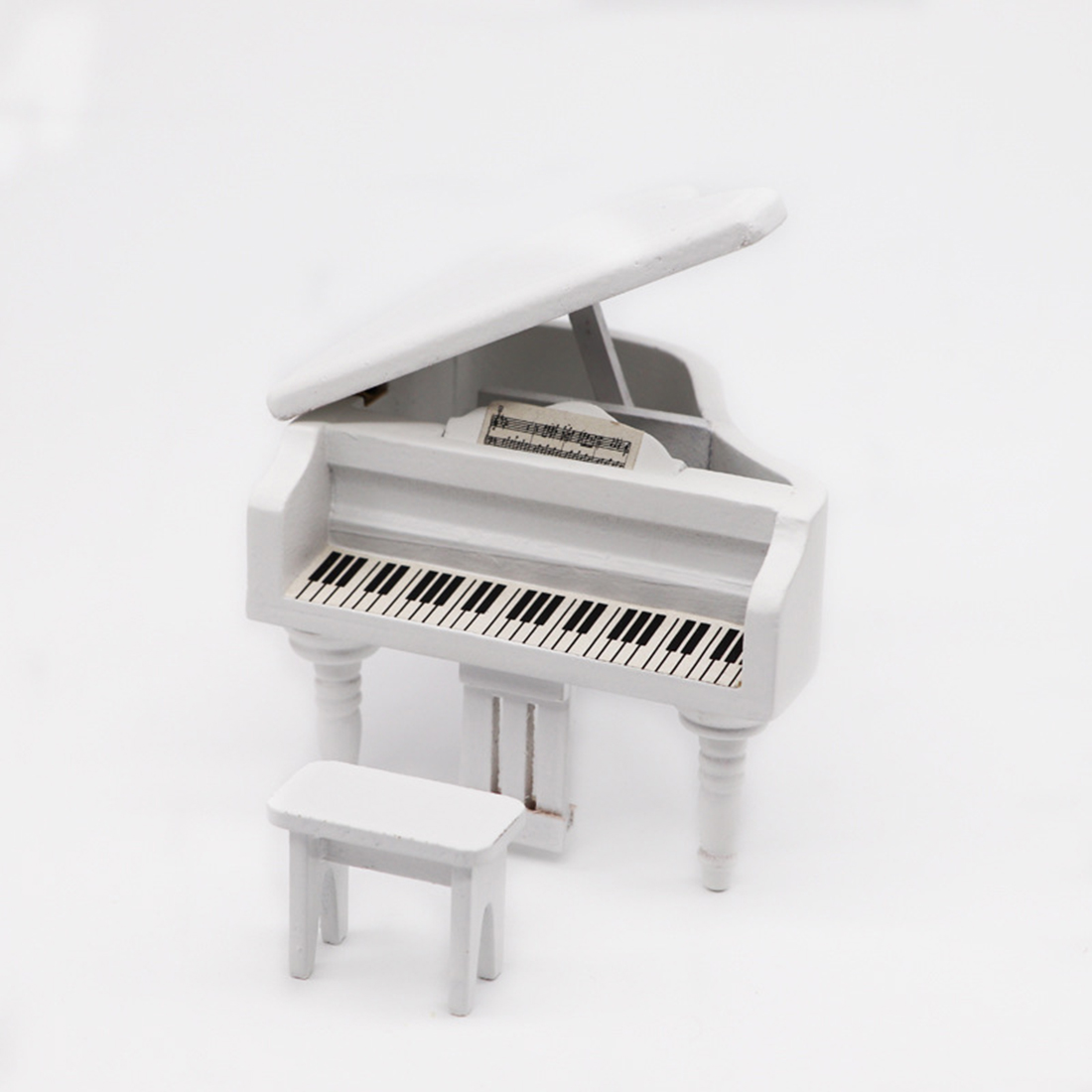 1/12 Scale Furniture Scene Props Miniature Dollhouse Grand Piano - Black