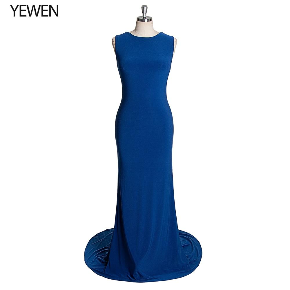 Royal Blue Sexy Mermaid Prom Dresses O-Neck Simple Satin Beading Backless Long Party Dresses Gala Jurken 2019