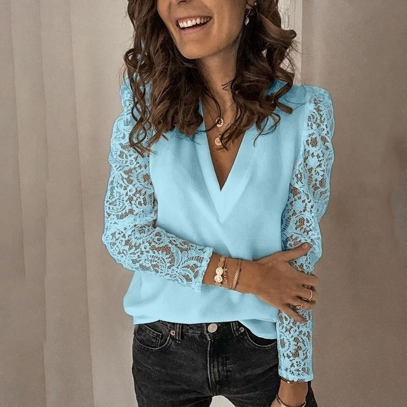 Korean Lace Puff Long Sleeve Women Blouse Patchwork Hollow Out V-neck Female Blouses 2020 Spring Casual Solid Office Lady Tops