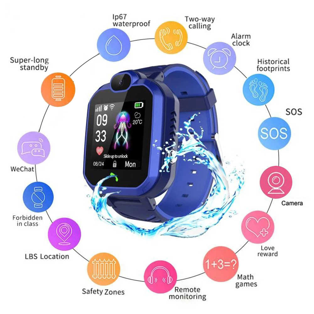 Q19S Anak Smart Watch Ponsel GPS Kids Smart Watch Tahan Air WIFI Sampai Bulan-Kehilangan GPS Lokasi Kamera Tracker Smartwatch