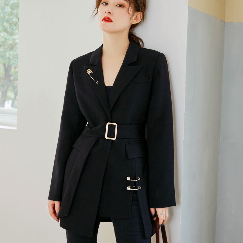 LANMREM 2020 New Spring And Summer Fashion Women Clothes Notched Collar Full Sleeves Pins Waist Belts Metal Single Blazer WK1950
