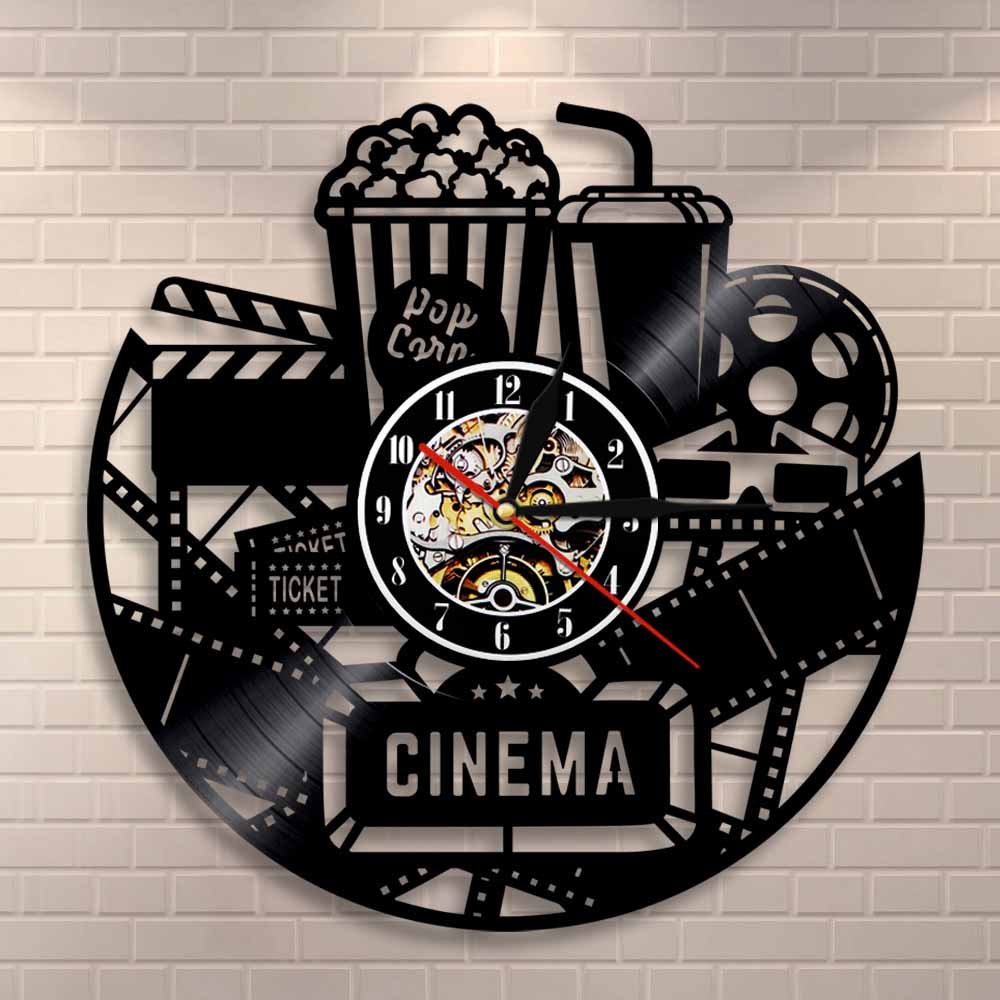 Cinema Production Clock Movie Theater Sign Popcorn Vinyl Record Wall Clock Watching Film Vintage Wall Decor Movies Lovers Gift