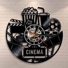 Horloge de Production de cinéma   Signe de cinéma, pop-corn dossier en vinyle, horloge murale, Film d'affichage, décor mural Vintage, films amoureux, cadeau