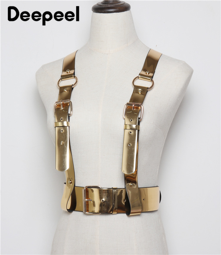 Deepeel 1pc 5cm*85cm Women Golden Mirror PU Cummerbund Hige Quality Punk Hip-hop Adjustable Shoulder Strap Decorative Belt YK764