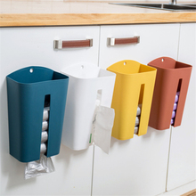 Wall-mounted Garbage Bag Holders Kitchen Cabinet Door Trash Bags Plastic Container Grocery Dispenser Storage Boxes with Cover