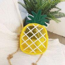 2020 new Transparent Pineapple bag women Jelly bag PVC Crossbody Bag child Chain phone bag Messenger Shoulder Bag For Female