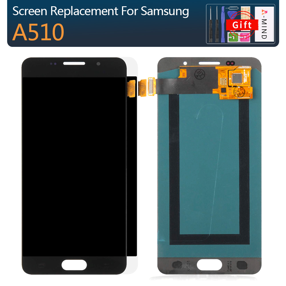 100% Test Super AMOLED <font><b>LCD</b></font> for <font><b>Samsung</b></font> <font><b>Galaxy</b></font> A5 2016 A510F A510M A510FD A5100 A510Y <font><b>LCD</b></font> Display Touch Screen Digitizer Assembly image