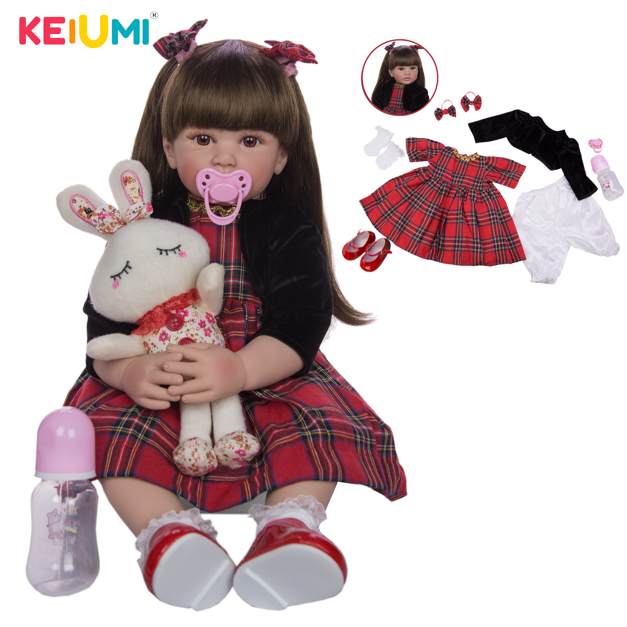 KEIUMI 24 Inch Reborn Dolls 60 cm Silicone Soft Realistic Princess Girl Baby Doll For Sale