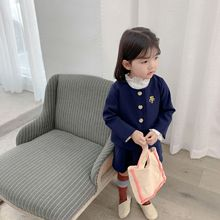 New autumn College style solid color lace collar embroidered suit jacket outerwear+short-section skirt two-pieces set for girls недорого