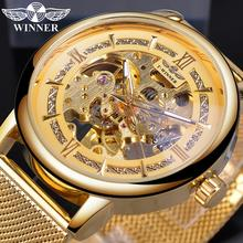 Winner Brand Mens Mechanical Wrist Watch Fashion Business Golden Skeleton Stainless Steel Mesh Band Male Automatic Clock Relogio цена
