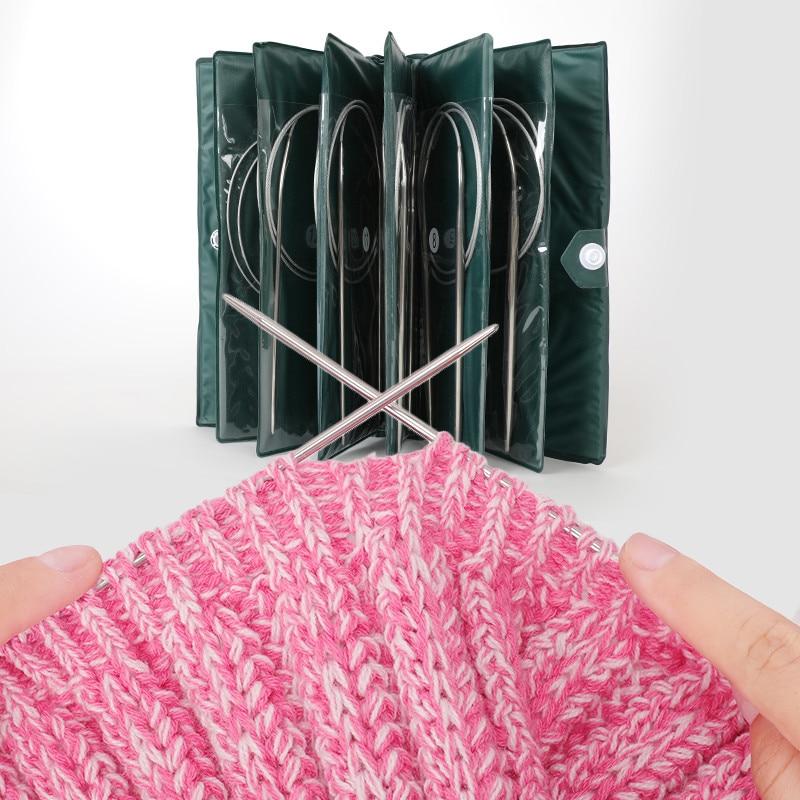 16.9 Circular Knitting Needle,11pcs Steel Stainless Circular Needle Knitting Tools with Steel Wire Lace