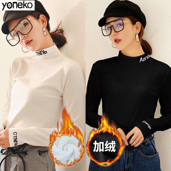 купить Women Sweater White Black Turtleneck Letter Sweater Autunmn Winter Thicken Warm Casual Pullover Plus Size jumper sweter mujer в интернет-магазине