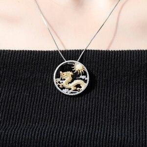 Image 2 - Gems Ballet Natuurlijke Afrikaanse Opaal Edelsteen Chinese Zodiac Sieraden 925 Sterling Zilveren Vliegende Draak Hanger Ketting Voor Vrouwen