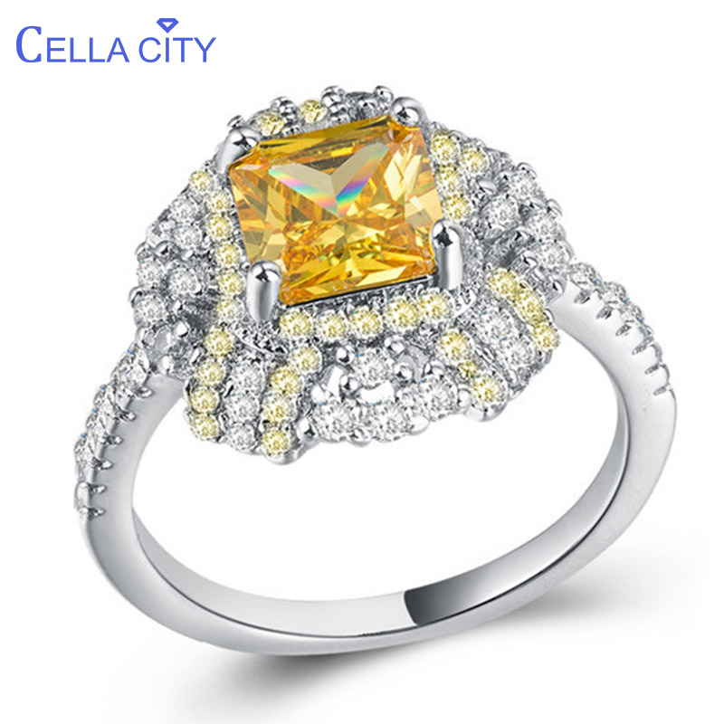 Cellacity Trendy Silver 925 Ring Fine Jewelry for Women Square Gemstones Citrine OL Female Rings Dating Accessory for Party Gift
