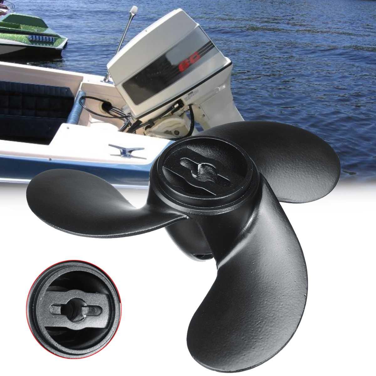 New 309-64106-0 Aluminum Marine Boat Propeller For Nissan Tohatsu Evinrude Johnson 2.2-3.3HP Black 3 Blades 7.4 X 5.7 R Rotation