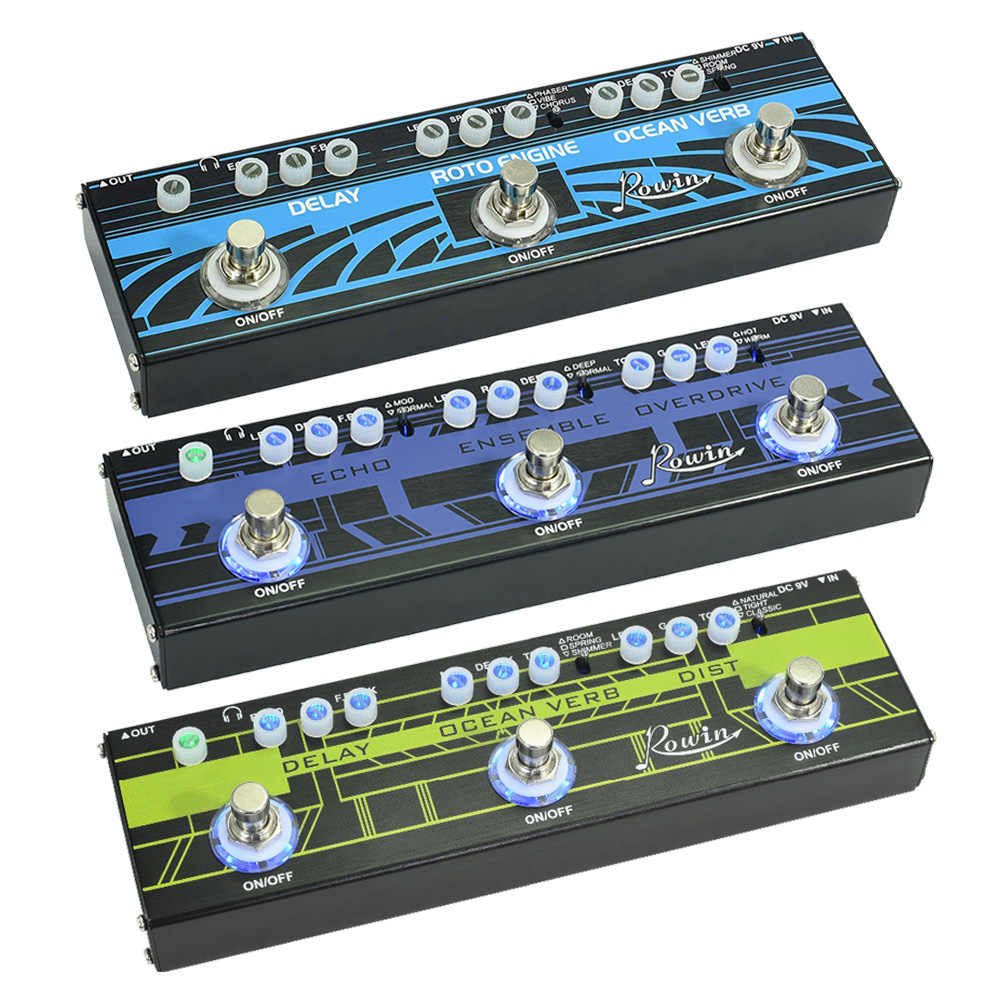 Rowin 3-in-1 Guitar Multi-Effects Pedale Delay Riverbero Dei Rotatori Eco Distorsione Overdrive Delay Reverb Chorus effetti per Chitarra Parti