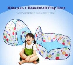 Crianças portáteis 3-em-1 barraca do jogo túnel de rastreamento dobrável combinação playhouse presentes das crianças ao ar livre tendas de brinquedo piscina de bola leve com saco
