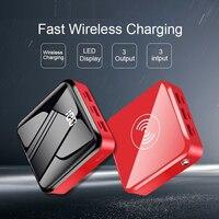 10000mAh banco de energía inalámbrico batería externa portátil Mini Poverbank 3 Entrada de salida espejo Scren cargador de teléfono PowerBank
