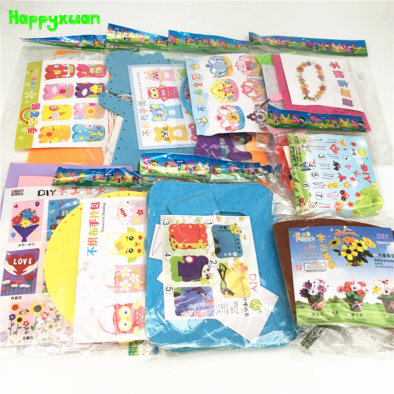 Happyxuan 9 Designs Kids DIY Craft Kits Felt Handicraft Preschool Kindergarten Creative Educational Sewing Toy Set Girl Children
