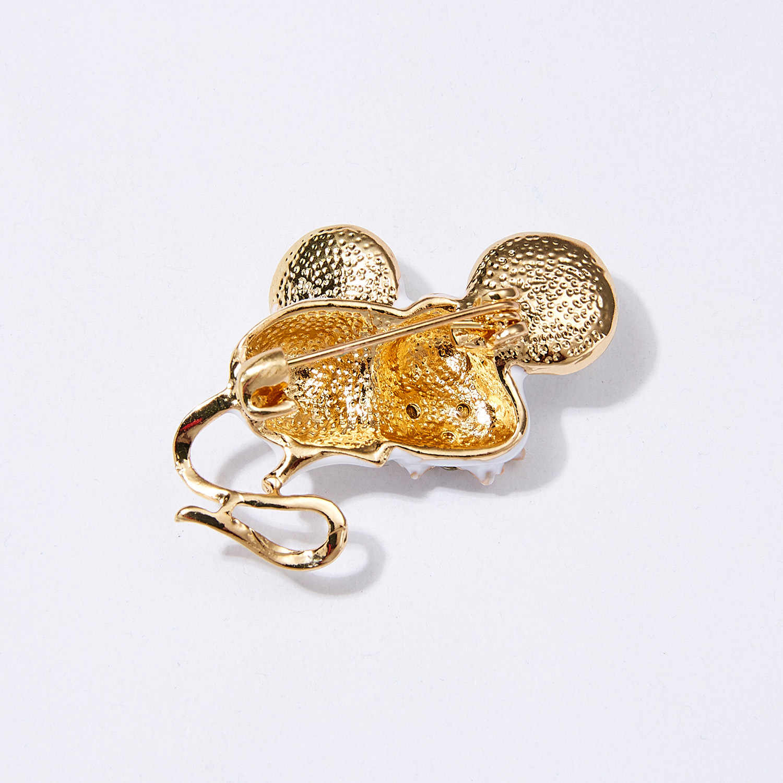 12 estilos dos desenhos animados emblemas bonito mouse broches para as mulheres criativo cz cristal animal esmalte pino jóias mochila acessórios presentes