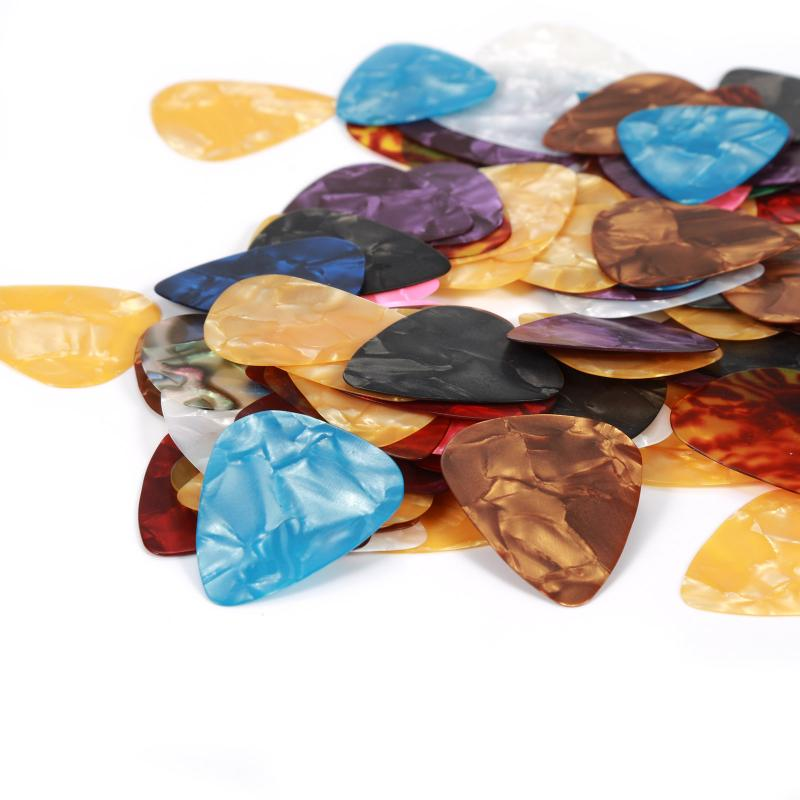 100 Pcs Acoustic Electric Guitar Celluloid Picks Acoustic Picks Guitar Pick Accessories Plectrums Mix Thickness