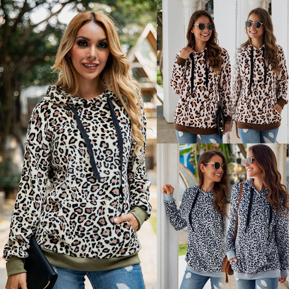 Women Autumn Hoodie Streetwear Winter Warm Teddy Coat Leopard Thin Hoodies Lady Lycra Pullover Sweatshirt Sherpa Tops  Fashion