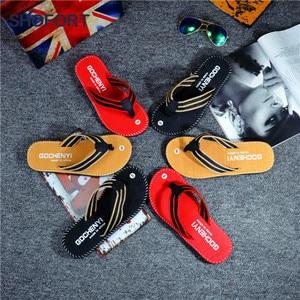 Image 1 - SHOFORT/Мужская обувь; Вьетнамки; Крутые мужские летние шлепанцы; Домашняя Нескользящая дышащая пляжная обувь; Уличные сандалии; Zapatos De Hombre