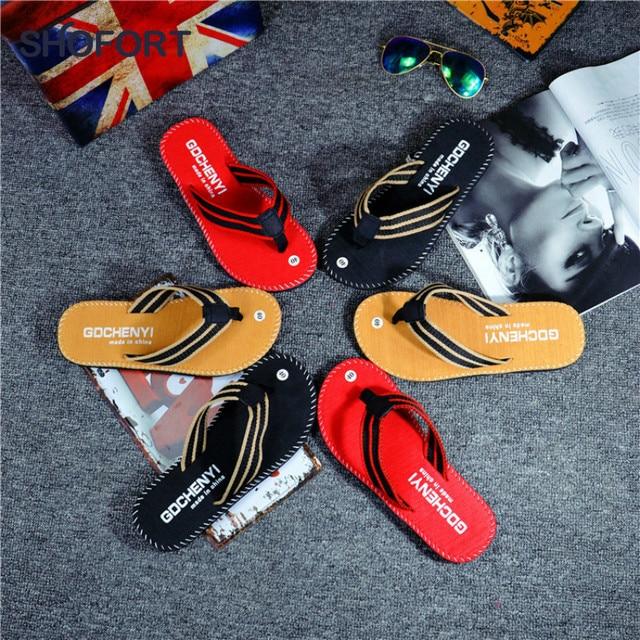 SHOFORT גברים נעלי כפכפים גברים מגניב קיץ כפכפים בית החלקה לנשימה נעלי החוף חיצוני סנדלי Zapatos דה hombre