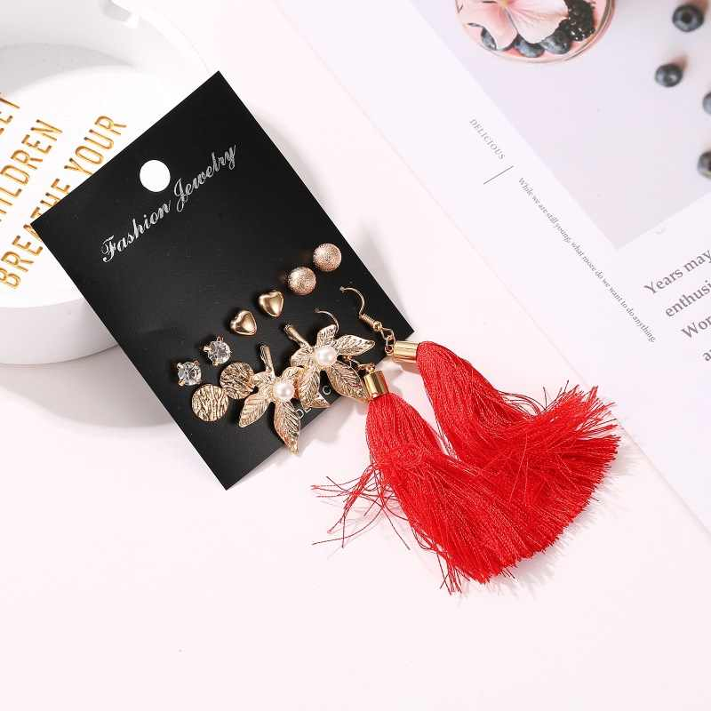 New Fashion Simulated Pearls Pendientes Bijoux Angel Wings Leaf Feather Flowers Stud Earrings For Women Wedding Jewelry
