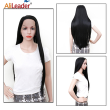 Leeons 28inch Super Long Lace Front Wig Black Straight Synthetic Heat Resistent