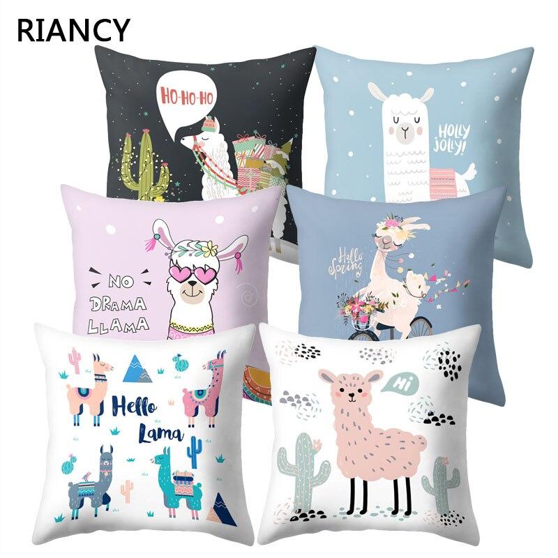 1Pcs Lovely Cartoon Animal Alpaca Cushion Cover Polyester Decorative Pillows Home Decor Sofa Car Waist Pillowcase 45x45cm 40853
