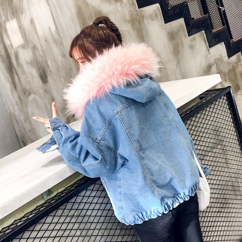 LUZUZI 2019 New Warm Winter Bomber Women Winter Autumn Hooded Girls Coat Jeans Denim Jackets Basic
