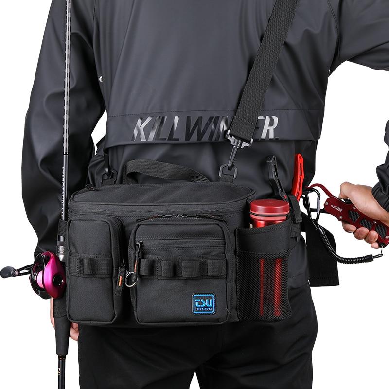 TSURINOYA Multifunction M/XL Size Fishing Lure Bag Outdoor Large Capacity Waterproof Hip Bag Shoulder Bags Fishing Tackle