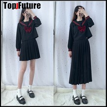 Black Sailor Uniform Novelty School Meisje Uniformen Stage Performance Student Suits Korte Tops Met Lange Mouwen Geplooide Rok(China)