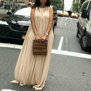 ZANZEA Women Lace Up Dresses Female Maxi Vestidos 2021 Summer Long Sundress Casual Solid O Neck Beachwear Robe Plus Size 5XL