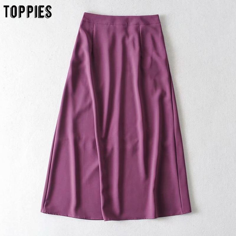 Toppies High Waist Satin Skirts Summer Skirts Womens Knee Length Faldas Elastic Waist Streetwear Solid Color