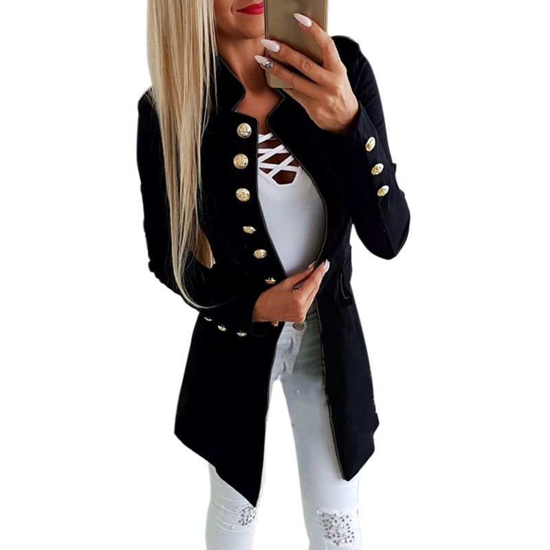 High Quality Women Fashion Simple Office Lady OL Lapel Long Sleeve Buttoned Slim Fit Small Suit Jacket Lapel Coat