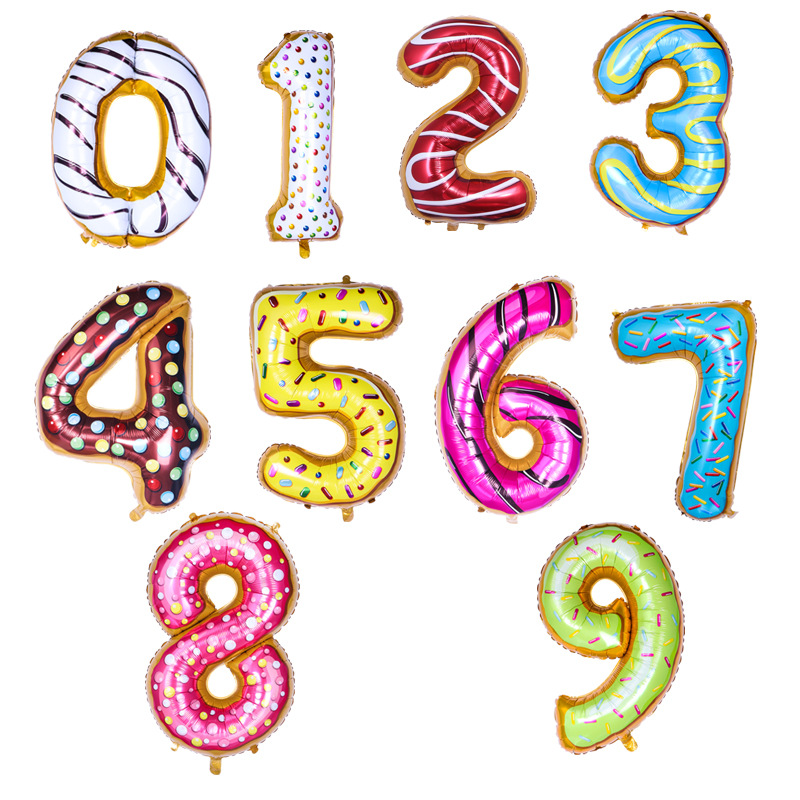 36 Inch Number donut Balloon Birthday Wedding Decoration Colorful Candy Helium Balloon Kids Toy Baby Shower Party
